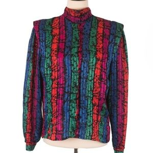 Vintage Neon Striped High Collar Structural Blouse